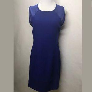 Forever 21 Blue Sheer Shoulder Shift Dress